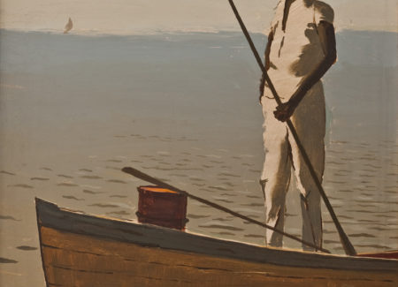 painting of man standing in small boat holding pole