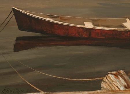 painting of red row boat tied to pier