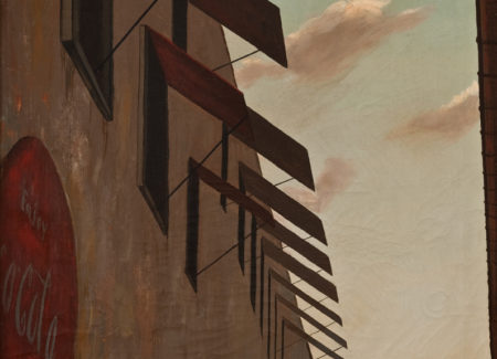 painting of open window shutters against sky