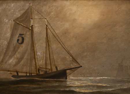 painting of schooner boat against gray sky with number 5 printed on sail