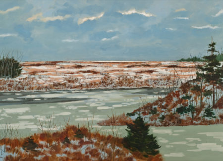 painting of icy water with melting snow on ground