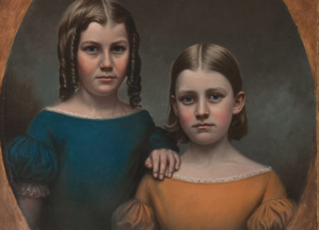 painted portrait of two young girls in puff-sleeve dresses