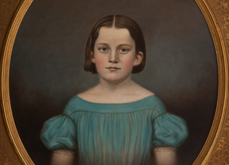 painted portrait of young girl in puff sleeve blue dress