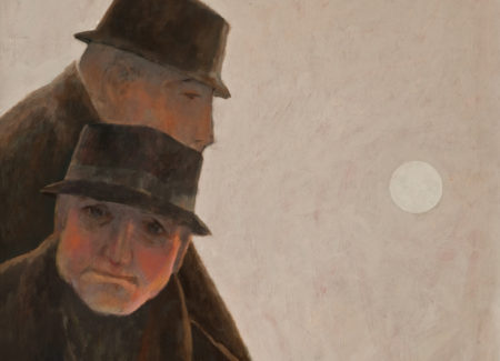painting of two men in black hats against gray sky, one in silouette, one facing the viewer