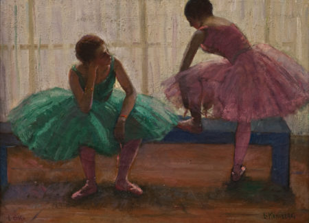 painting of two ballerinas in tutus, one seated on bench, one standing with foot on bench tying slipper