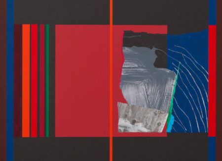 square abstract artwork with black background, red lines and boxes, blue border, section of washed gray paint and water on sand