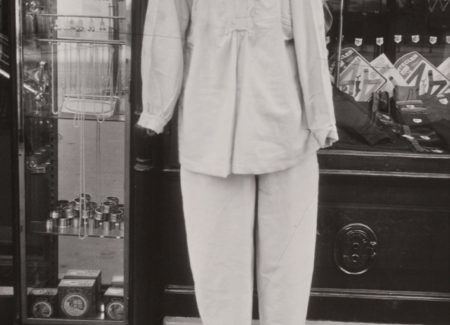 black and white image of clothing on display in store