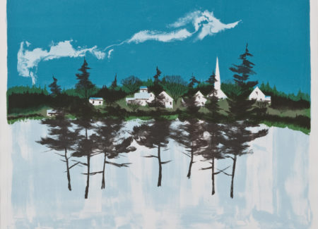 painting of pine trees in snow with white houses and steepled church in background