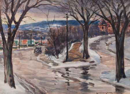 painting of street with antique car and victorian home with bare trees and snow on ground