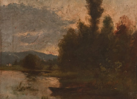 painting of row boat in lake with front of trees and cloudy sky