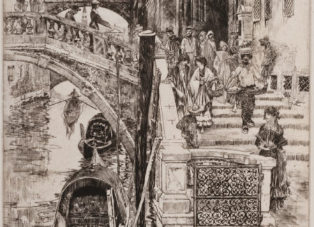 line drawing of the Bridge of Sighs in Venice, Italy
