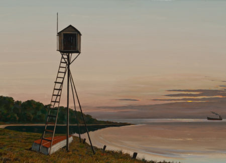 painting of small shack atop tall wooden stilts in front of water way with barge in background