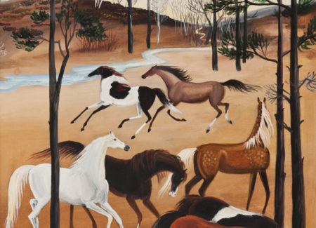 painting of horses by stream with tall trees