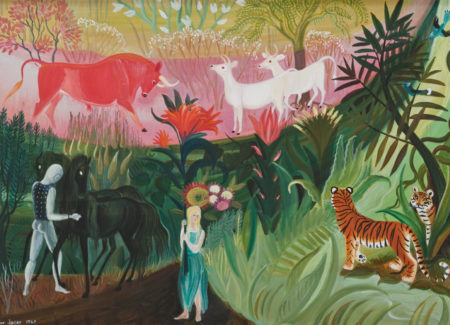 blond woman in blue dress holds a tall orange flower surrounded by tall plants, two tigers, cows and a man tending black horses