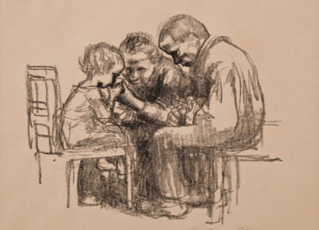 man and woman seated helping small child drink from cup, chalk drawing
