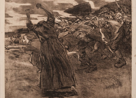 drawing of woman seen from behind with arms raised in front of crowd rushing forward holding harm tools as weapons