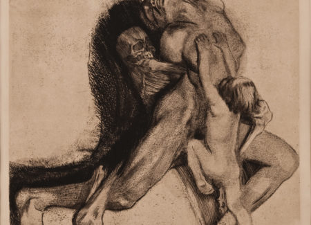 skeleton grasping nude woman from behind, small child clings to her chest. chalk drawing