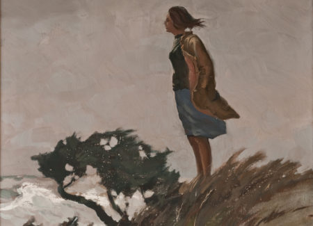 painting of woman on hilltop facing wind with cloudy sky