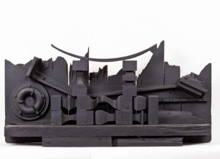 black painted wood and metal shapes, sculpture