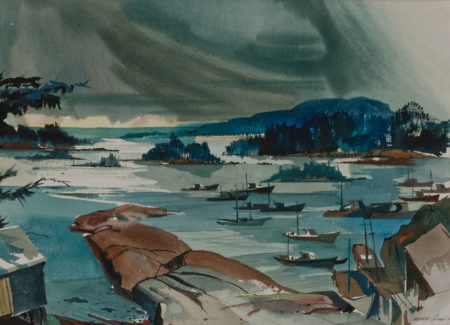 watercolor painting of fishing boats in small harbor with small tree-covered islands and mountains in distance, cloudy skies