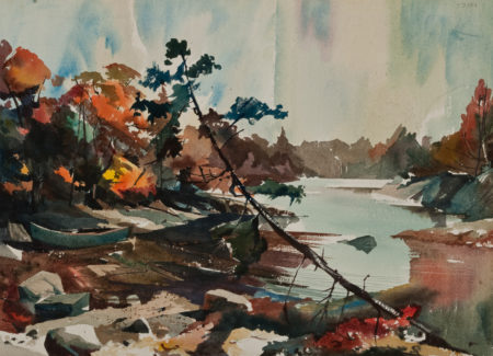 painting of autumn trees, pine tree leaning by water, small boat pulled up on shore