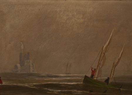 painting of river steamboat and small sailboats in water with yellow-gray cloudy skies