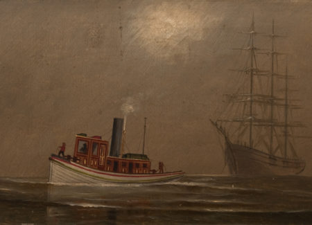 painting of small steamboat with schooners on water against yellow-gray cloudy skies