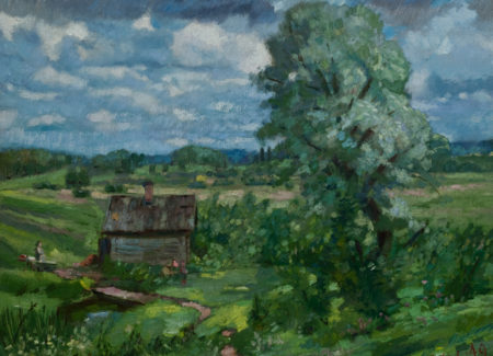 painting of small house in green field with person walking towards, large tree in foreground