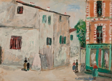 painting of street corner with stucco houses and storefront, people on street