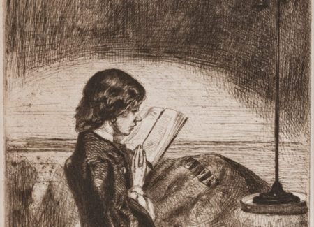 line drawing of woman reading a book under a lamp