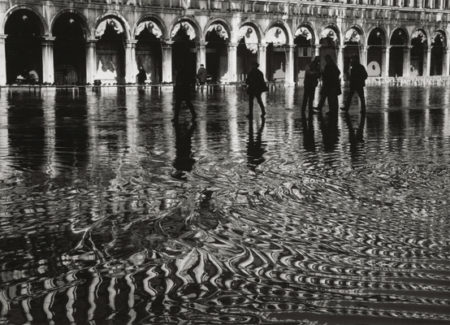 black and white photograph of Piazza San Marcos, Venice, Italy