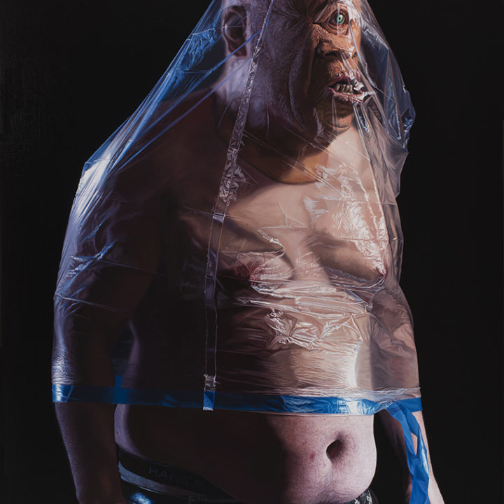 shirtless cyclops with protruding jaw with large transparent plastic bag over torso