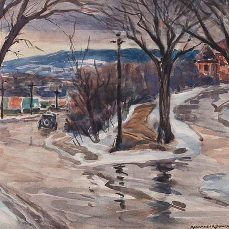 Cassidy's Hill, painting of winter scene, antique car descending hill