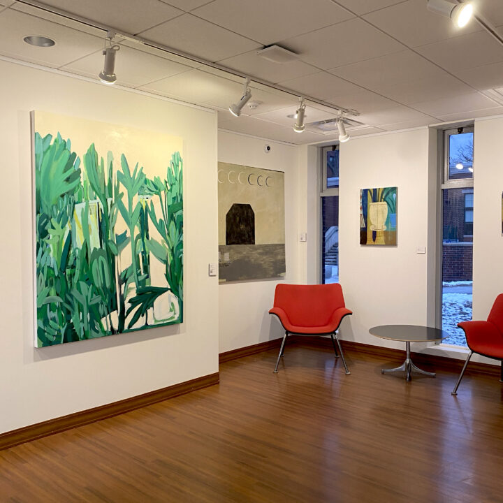 View of gallery wall showing paintings from Persephone in the Late Anthropocene exhibit