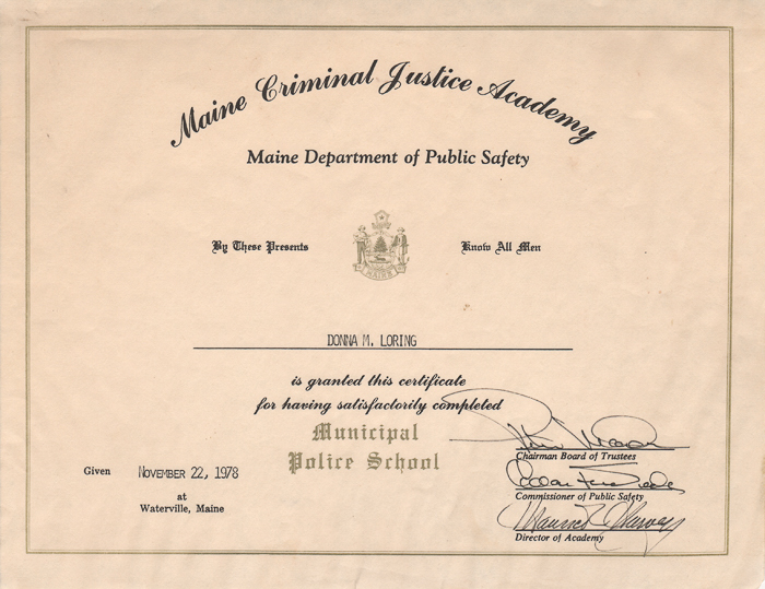Donna Loring's Maine Criminal Justicy Academy graduation certificate