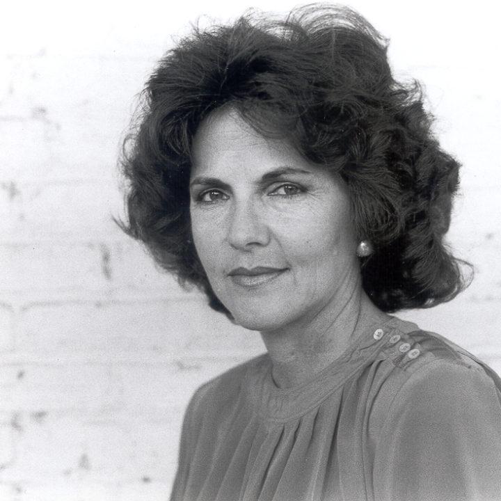 black-and-white head shot of Perdita Huston