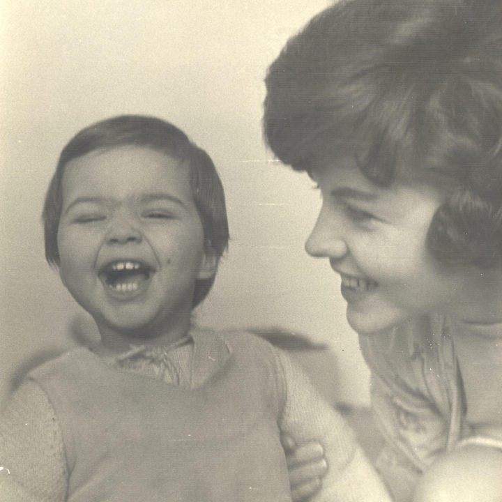 Sepia photo of Huston with daughter Françoise, 1959