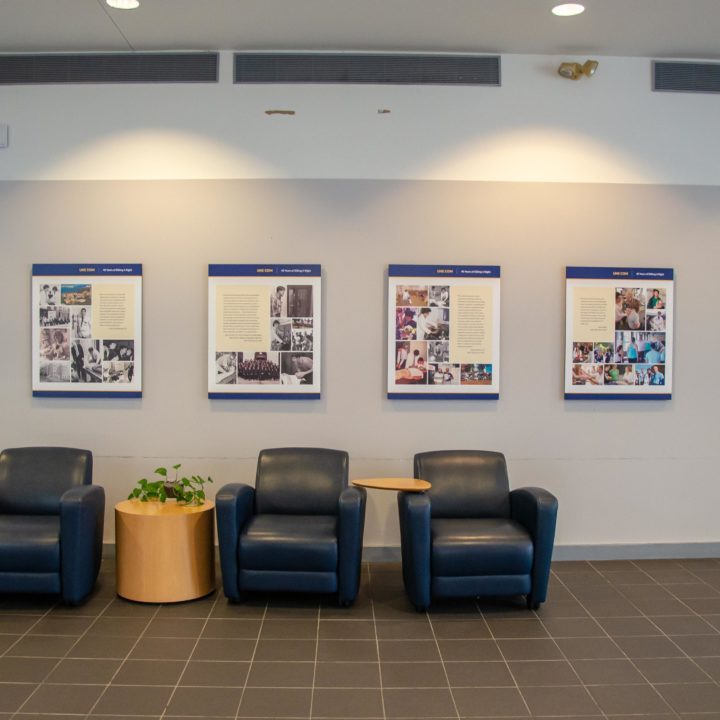 Exhibit wall in Harold Alfond Center for Health Sciences.