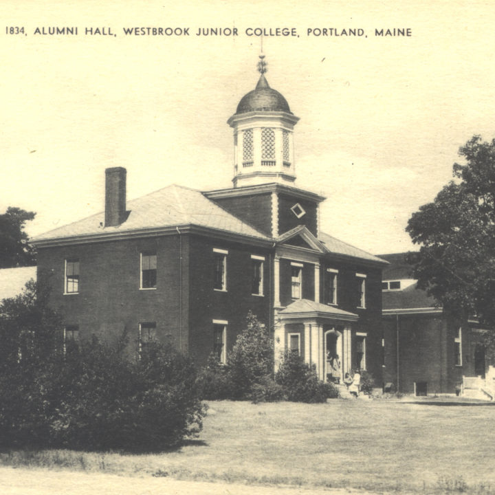 Historical postcard of Alumni Hall Westbrook College Campus 1834