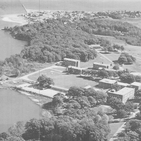 black and white aerial photograph of St. Francis College campus