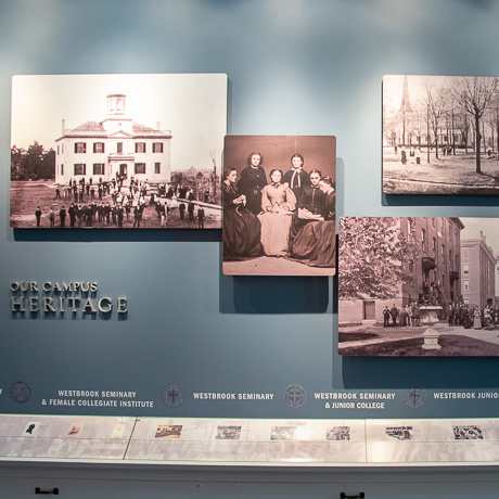 detail of exhibit showing sepia photographs of campus