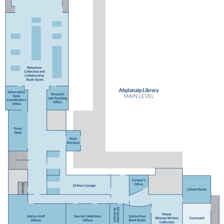 floor plan of Abplanalp Library main level.